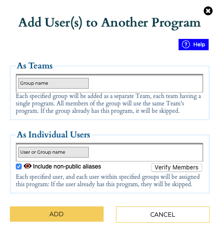 Add User to Program popup